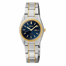 Ladies Seiko Solar Gold Silver Stainless Steel Blue Dial Watch Day Date SUT110