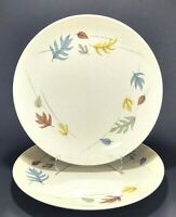 "2 Franciscan Gladding McBean Autumn Leaves 10 1/4"" Dinner Plates - Chipped"