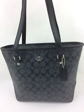 New COACH F58294 Zip Top Tote Handbag Purse Bag in Siganture Black Smoke/Black