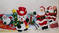 5 Vintage Santa Rudolph Molded Plastic Christmas Decor Wall Hanging Mid Century