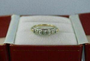 1.00 Ct Round Cut Diamond Anniversary Wedding Band Ring 14k Yellow Gold Over