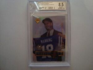 1998 Collector's Edge Peyton Manning Diamond & G/U Football Promo Rookie BGS 8.5