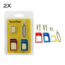 2x Nano Universal Sim Card to Micro Sim Card Standard Card Adapter Converter Kit