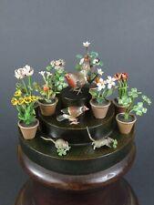 More details for antique austrian cold painted bronze flower pots birds mice ~ miniature garden