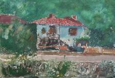 Vintage Impressionist print landscape house signed