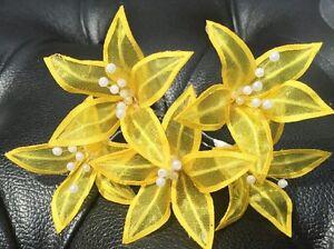 5 Wedding Prom  Shiny Lemon Yellow Lily Flower Hair Pins Clips Grips handmade