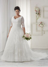 2017 New Plus Size White/Ivory Bridal Gown Lace Wedding Dress Stock Size:14---26