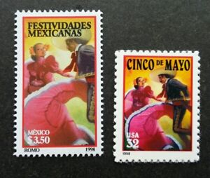 *FREE SHIP Mexico - USA Joint Issue Mexican Holidays 1998 Dance (stamp pair) MNH