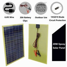 20W Epoxy Solar Panel & 2m Cable & 30A Clip for 12V Camping Battery Charge boat