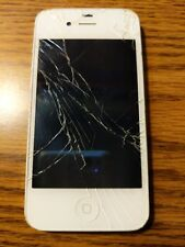 White iPhone 4 A1349 Broken Screen Still Works Comes with Apple Charger Unlocked