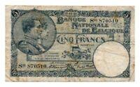 BELGIUM banknote 5 FRANCS 1923. VF