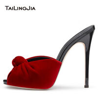 Women Ladies Knotted Velvet Mules High Heel Sandals Sexy Stiletto Dress Shoes
