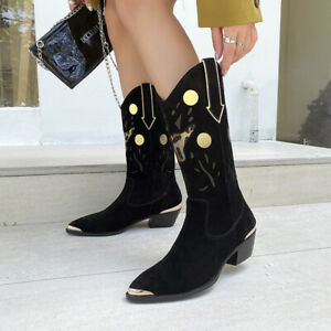 Fashion Suede Pointed Block Heel Western Boot Winter Elegant Slip-On Women Shoes