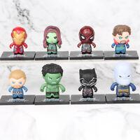 8 Mini Superhero Action figures  Avenger men IRON THAONS HULK BLACK PANTHER