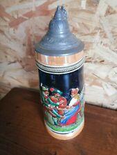 ANCIENNE chope à bière Allemande DÉCORÉ en grès collection BOISSON bar VINTAGE
