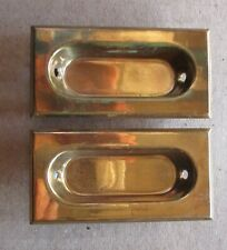 """PAIR BRASS RECESSED WINDOW SASH LIFTS HANDLES CUP STYLE NEW OLD STOCK  3"""" wide"""