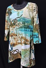 ONQUE Casuals NAUTICAL Anchor/Rope Embellished Shark Bite Women's Tunic Top Sz S