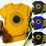 Women Plus Size Sunflower Print Round Neck Short Sleeved T-shirt Blouse Tops