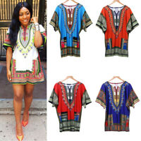 US Women African Ethnic Print Dress Dashiki Tops Short Sleeve Party Mini Dress