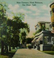 Main Entrance Hotel Robinson San Diego CA Unposted Divided Back Vintage Postcard