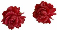 Vintage Floral Earrings Gold Tone Clip-On Pink Rose Women's  Jewelry