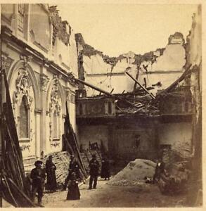 A. Bernoud 1857 Basilicata earthquake Very rare perhaps unique Stereo card S1039