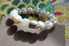 "Silpada Safari bead bracelet w/ silver sleeve ""Retired"" design 7"" Diameter"