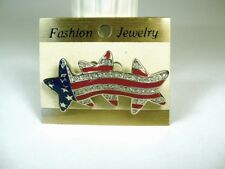 BROOCH Pin SILVER Plated AMERICAN FLAG Swarovski CRYSTALS Red White & Blue