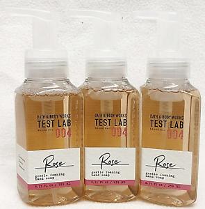 LOT 3 TEST LAB ROSE BATH & BODY WORKS GENTLE FOAMING HAND SOAP 8.75 FL OZ WASH
