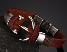 Men's Boy's Leather Silver Alloy Anchor Buckle Clasp Bracelet Surfer Wristband