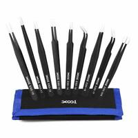 9PCS Precision ESD Tweezers Tool Kit Set Stainless Steel Safe Anti-Static Tools