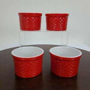 Crate & Barrel Round Ramekins Red And White Set Of 4 Custard Condiment Bowl Dish