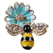 2 Enamel Bumble Bee Charms Blue Black Flower Rhinestone Gold Plated