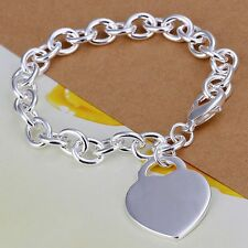 Wholesale 925Sterling Solid Silver Jewelry Heart Charms Bracelet For Women H268