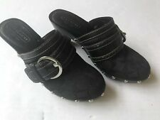 Womens Coach Sable Heeled Black Clogs Embellished With Studs Size 7M