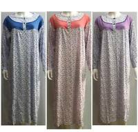 Ladies Long Sleeve Nightdress NightWear  Women Nightie Warmer 100%cotton 10-22