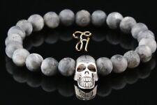 Larvikite Grey Matt 0 5/16in Bracelet Pearl Bracelet Silver-Coloured Skull