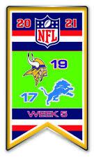 2021 Semaine 5 Bannière Broche Minnesota Vikings NFL Vs.Detroit Lions Super Bol