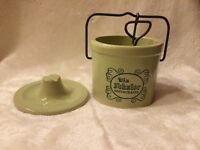 VTG Win Schuler Cheese Stoneware Farmhouse  Crock Cobalt Lettering Wire Bail