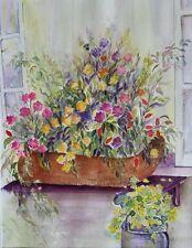 "Painter Suzanne Obrand, Holocaust Survivor, Watercolor ""Basket of Flowers #3"""