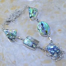 "Handmade Mother of Pearl Abalone Shell 925 Sterling Silver Necklace 19.5"" K62613"