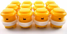 12 x 28mm Round Convex Curved Arcade Push Buttons & Microswitches (Yellow) MAME