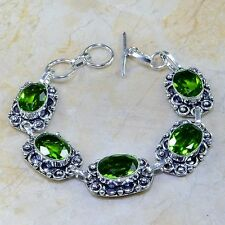 GORGEOUS GENUINE PERIDOT IN ORNATE 925 STAMPED STERLING SILVER BRACELET 7-7 3/4""