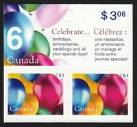 BIRTHDAY BALLOONS = Upper booklet pair Canada 2006 #2146 MNH