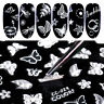 3D Nagel Aufkleber Self-adhesive Transfer Decals Flower Butterfly Feather Design