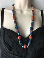 Vintage MILLEFIORI GLASS ROUND & CYLINDRICAL BEAD NECKLACE