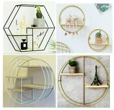Wall Shelves Rack Metal Storage Iron Cube shelf Hexagonal Grid bathroom shelving