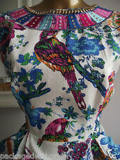 MONSOON FUSION PARROT VIBRANT FLORAL EMBROIDERED BEADED SUMMER HOLIDAY DRESS 10