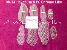08-18 HAYABUSA GSXR 1300 CHROME LIKE FAIRING & NOSE SCREENS GRILLS VENTS MESH