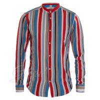 Camicia Uomo Righe Sottili Colorate Collo Coreano MOD Fluida Casual GIOSAL